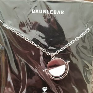 NWT Baublebar White & Silver Disc Necklace
